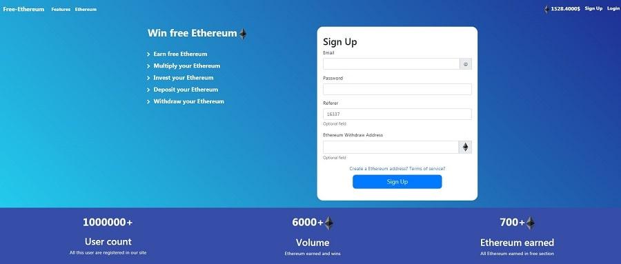 Главная страница сайта free-ethereum io